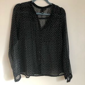H&M Sheer Polka Dot Button Up Top